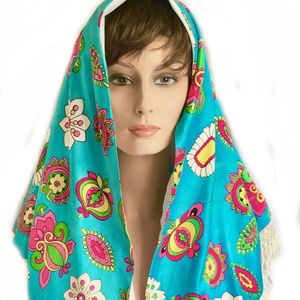 Accessories - 1960'S VINTAGE FLOWER POWER LINED TURQUOISE SHAWL